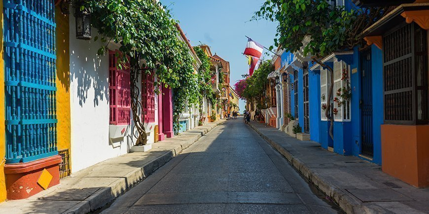 Colorful empty Streets of Cartagena